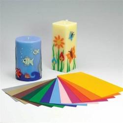 Folie voskové pro dekor svíček - sada 12 barev