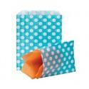 Papírový sáček modrý s puntíky, 50ks