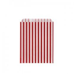 Papírový sáček s proužky, červený, 50ks, rozměr 13x18cm