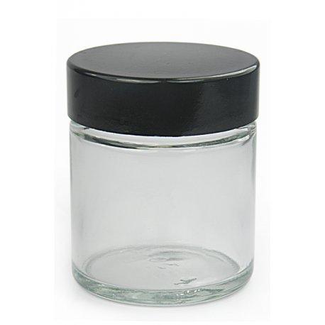 Transparentní sklo s černým víčkem 30ml