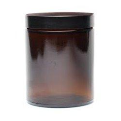 Sklo hnědé, víčko černé, objem 180ml