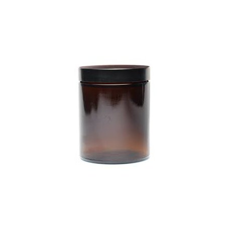 Glasbehälter für cremefarbenes 180 ml Glas mit schwarzem Deckel