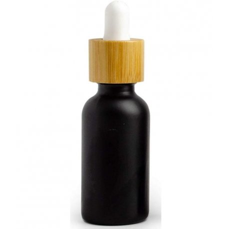 Schwarze Glasflasche mit Bambuspipette, 30ml